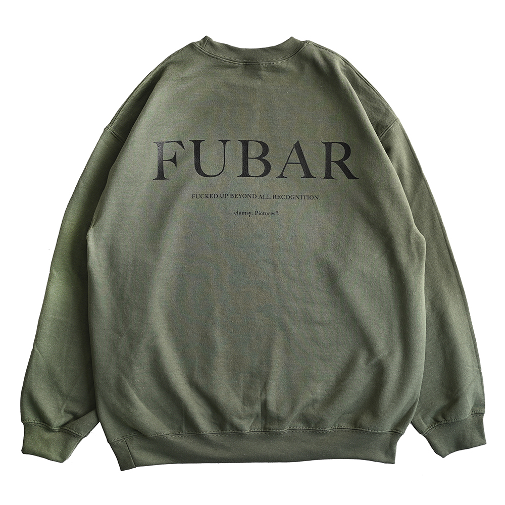"clumsy. Pictures スエット ""FUBAR CREW SWEAT - OLIVE DRAB"""