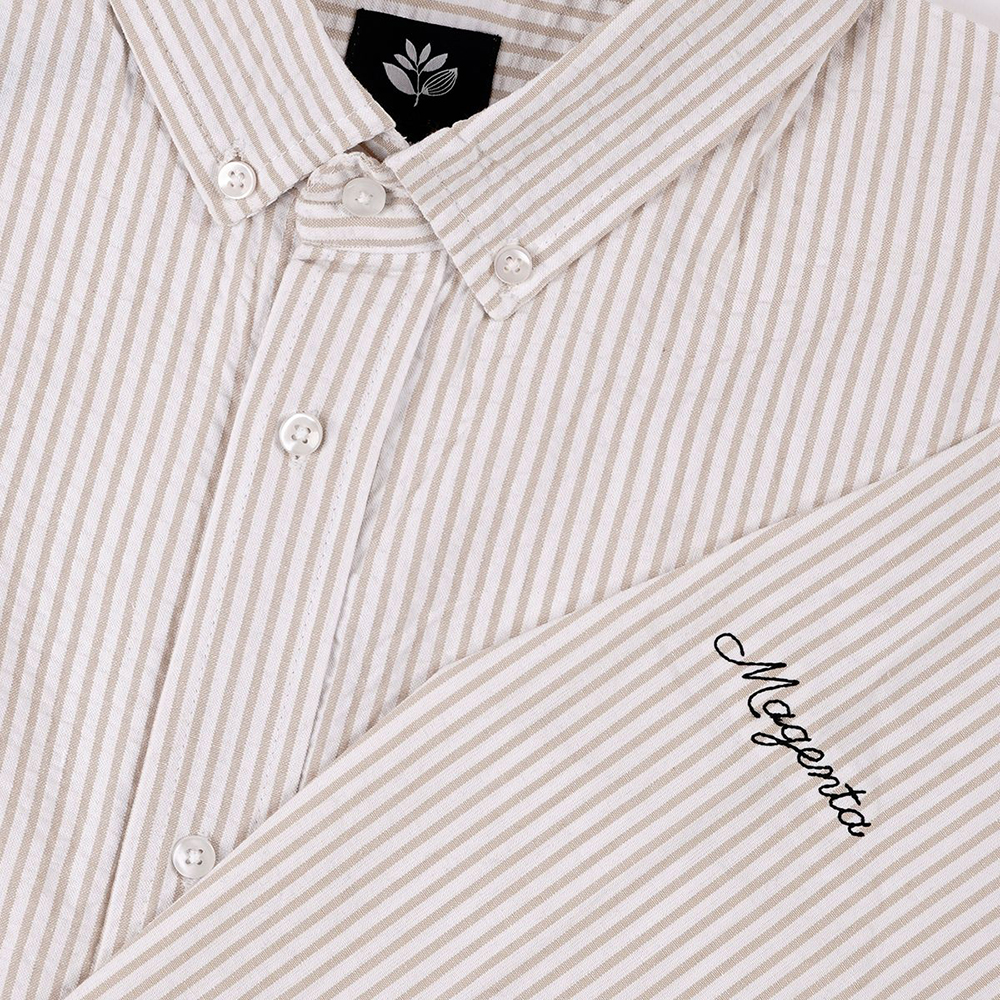"MAGENTA 長袖Tシャツ ""STRIPED SHIRTS - WHITE/LT-BEIGE"""