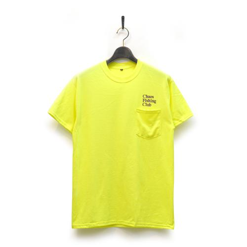 "CHAOS FISHING CLUB Tシャツ ""CFC EMB(刺繍) POCKET TEE - NEON YELLOW""/CHAOS FISHING CLUB"