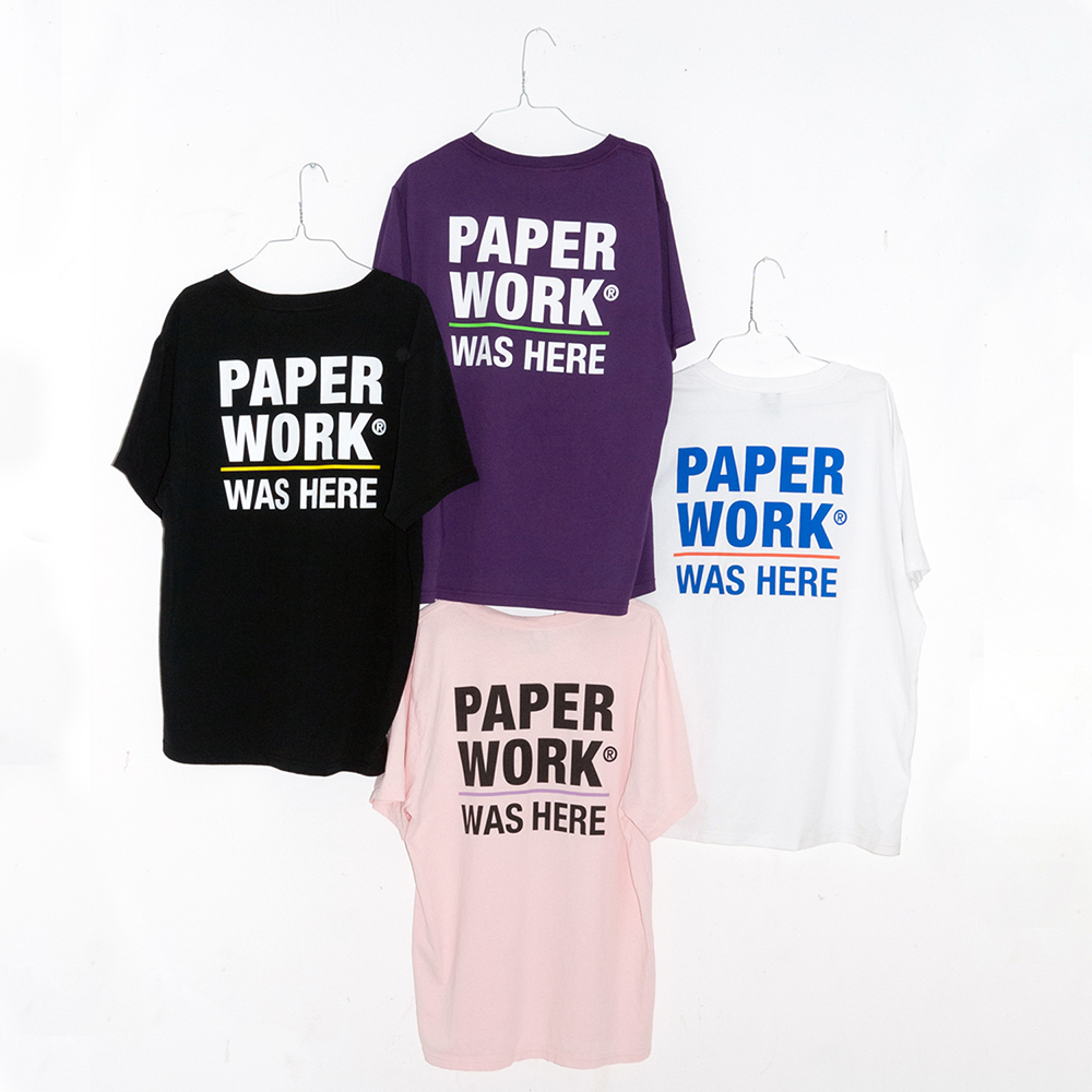 "【Prime LIMITED】 PAPER WORK NYC Tシャツ ""STANDART ISSUE WAS HERE S/S TEE - LT PINK"""