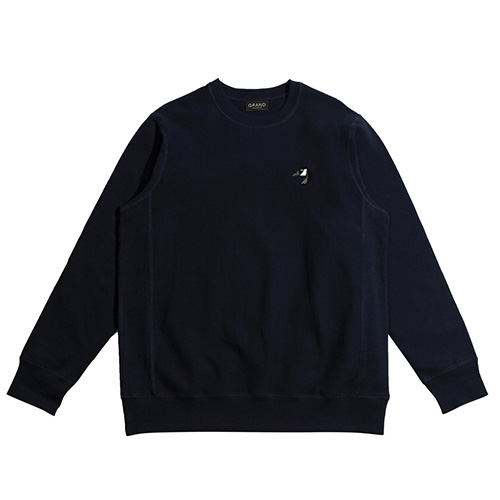 "GRAND COLLECTION スエット ""GOOSE EMBROIDERED CREW - NAVY""/GRAND COLLECTION"