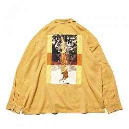 "TIGHTBOOTH PRODUCTION 長袖シャツ ""FORTRESS DRAPE SHIRT - MUSTARD"""