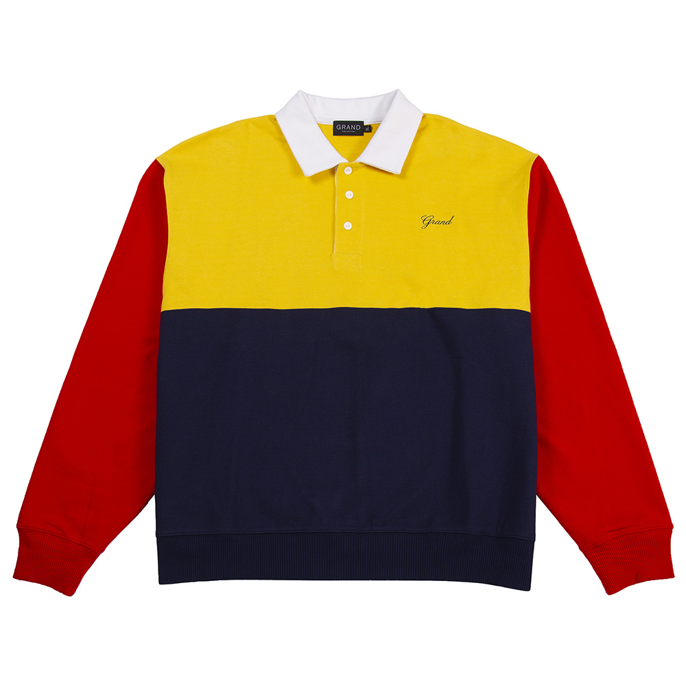 "GRAND COLLECTION スエット ""COLLARED SWEAT SHIRT - NAVY/RED/YELLOW"""