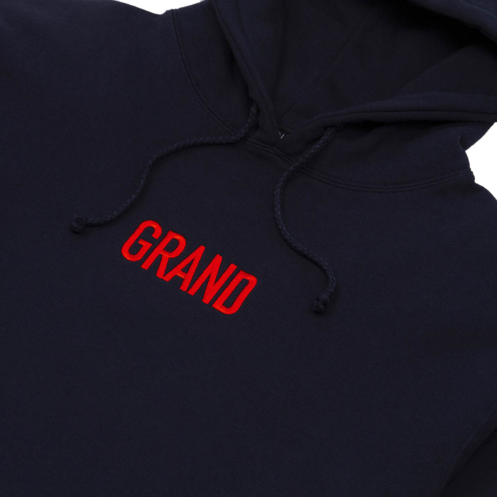 "GRAND COLLECTION パーカー ""GRAND BLOCK HOODIE - NAVY"""
