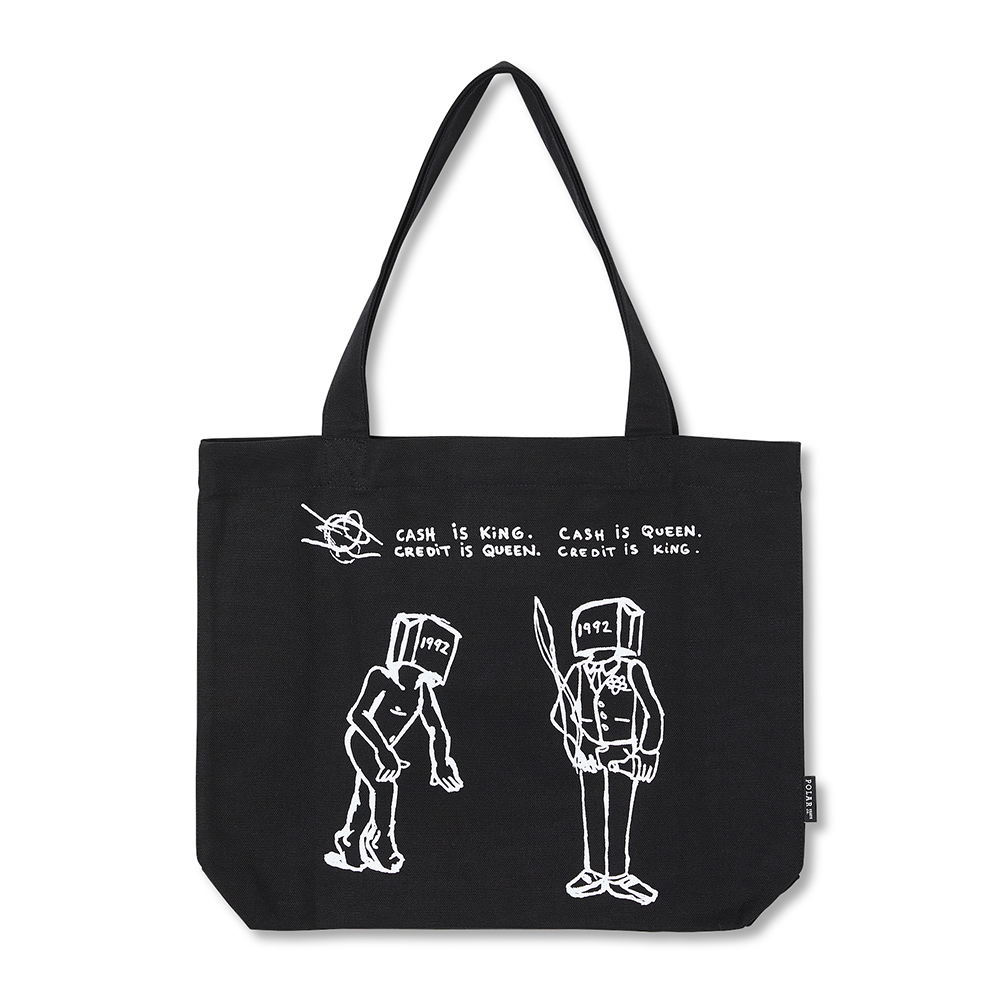 "POLAR SKATE CO トートバッグ ""CASH IS QUEEN TOTE BAG - BLACK"""