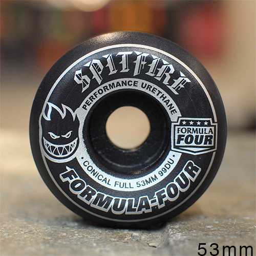 "SPITFIRE ウィール TEAM ""F4 CONICAL FULL BLACKOUT/SILVER - 53MM / 99A"""