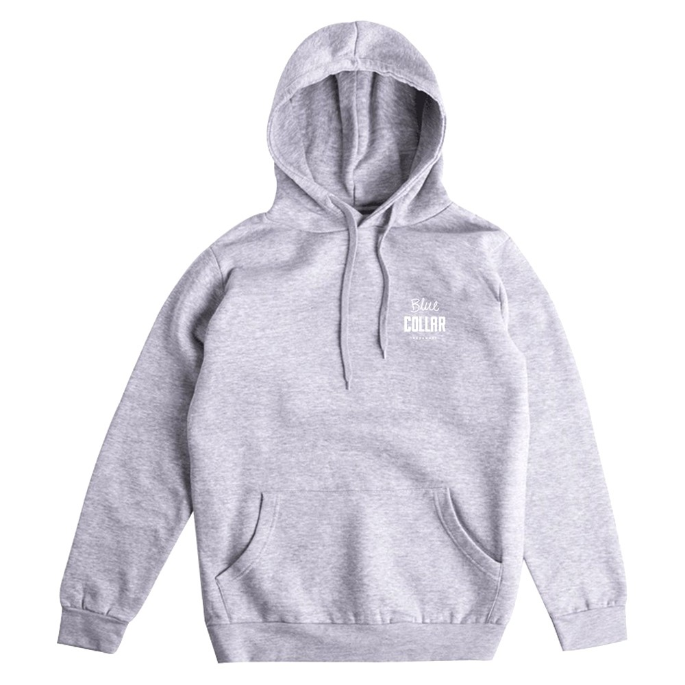 "BLUE COLLAR パーカー ""OG STACK HOODIE - HEATHER GREY"""