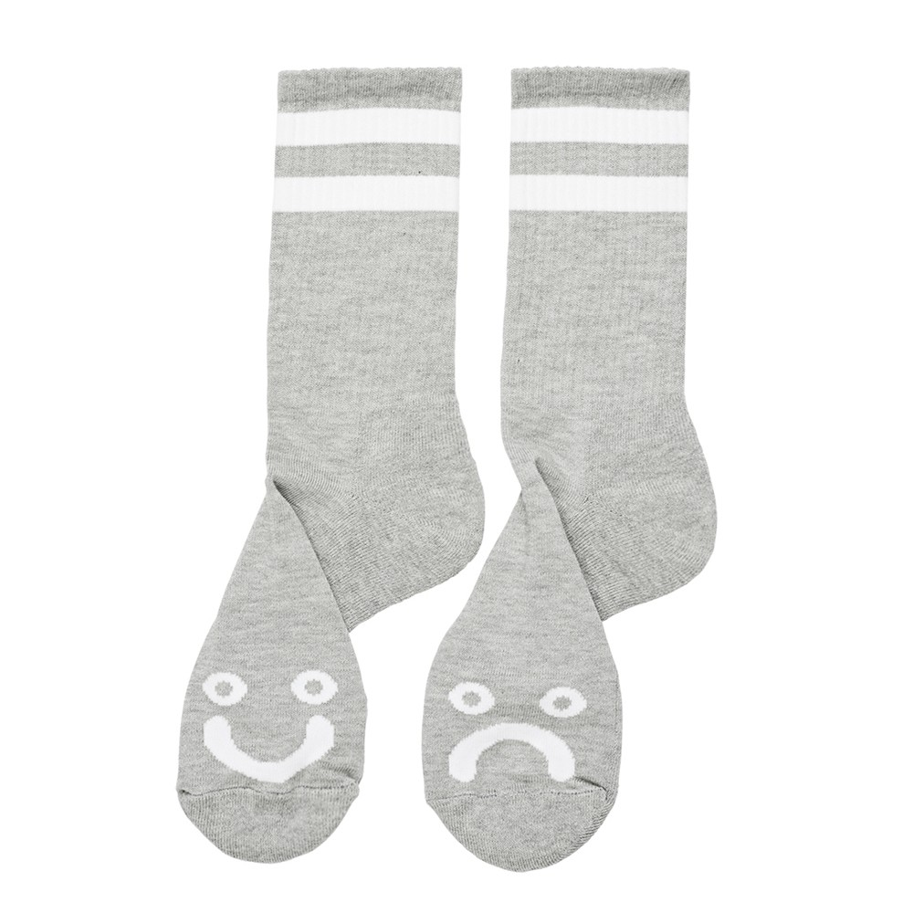 "POLAR SKATE CO ソックス ""HAPPY SAD SOCKS (20WIN) - HEATHER GREY"""