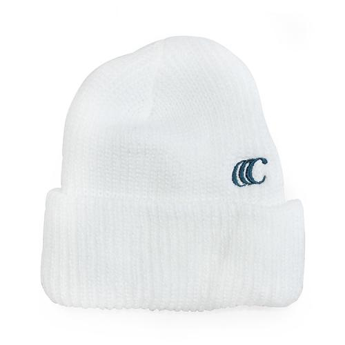 "clumsy. Pictures ニットキャップ ""CCC EMB SHORT BEANIE - WHITE (DARK TEAL刺繍)"""